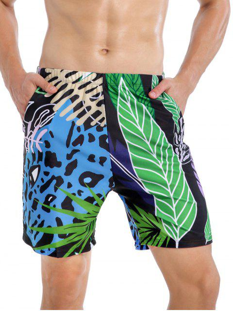 Tropical Leaf Leopard Swimming Shorts - متعددة-A 2XL Mobile