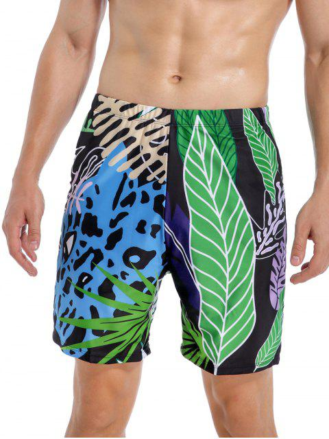 sale Tropical Leaf Leopard Swimming Shorts - MULTI-A 2XL Mobile