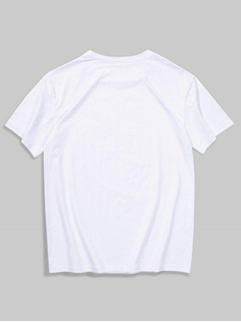 fashion Short Sleeves Simple Letter Print Tee - WHITE L Mobile