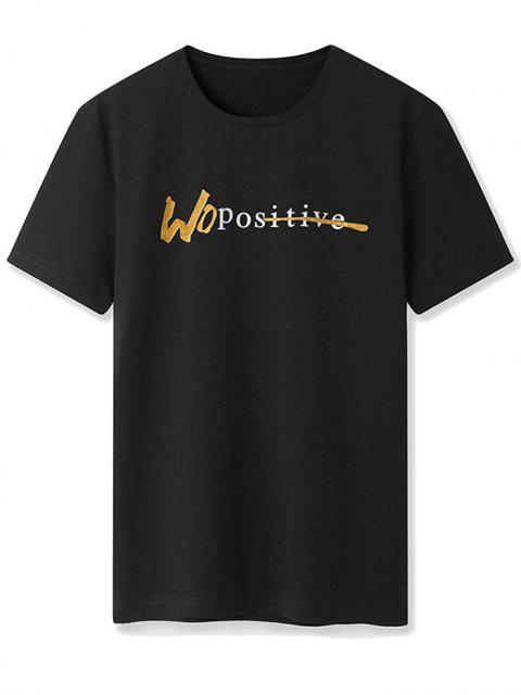 Maglietta a Girocollo con Motivo a Lettera e Maniche Corte - Nero XL Mobile