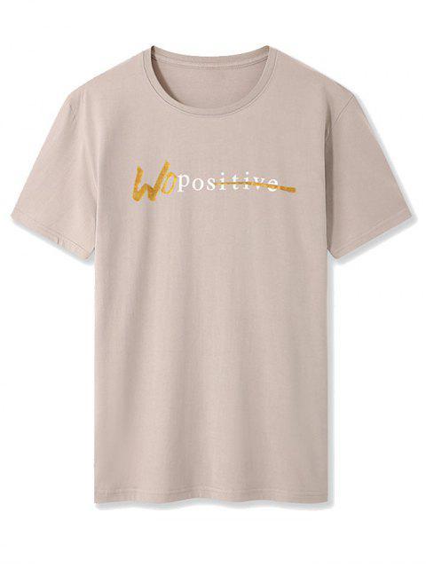Maglietta a Girocollo con Motivo a Lettera e Maniche Corte - Cachi XS Mobile