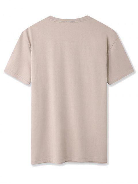 Maglietta a Girocollo con Motivo a Lettera e Maniche Corte - Cachi XL Mobile