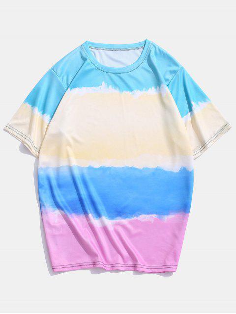 T-Shirt Casuale di Tie-Dye - Multi Colori-A 2XL Mobile