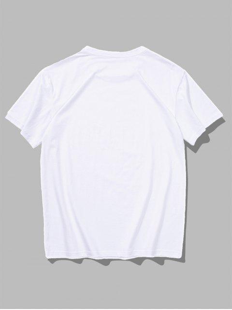 Short Sleeves Stones Pattern T-shirt - أبيض 2XL Mobile
