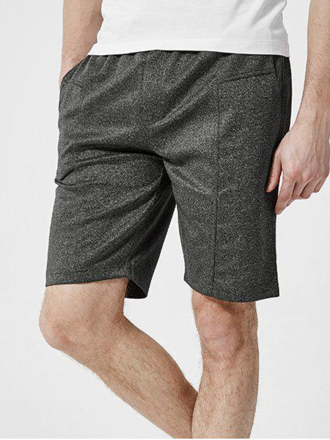 lady Letter Detail Plain Drawstring Casual Shorts - DARK GRAY 2XL Mobile