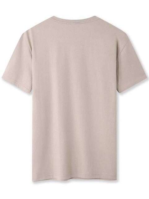 unique Letter Graphic Printed Basic T-shirt - KHAKI XS Mobile