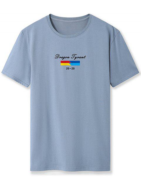 women Letter Graphic Printed Basic T-shirt - BLUE GRAY XS Mobile