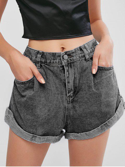 buy Cuffed Hem Pockets High Waisted Denim Shorts - GRAY M Mobile