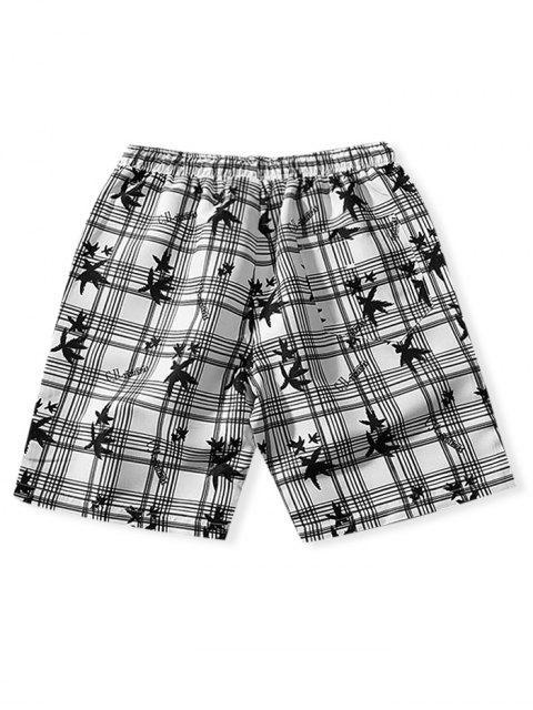 womens Plaid Graphic Print Board Shorts - WHITE XS Mobile