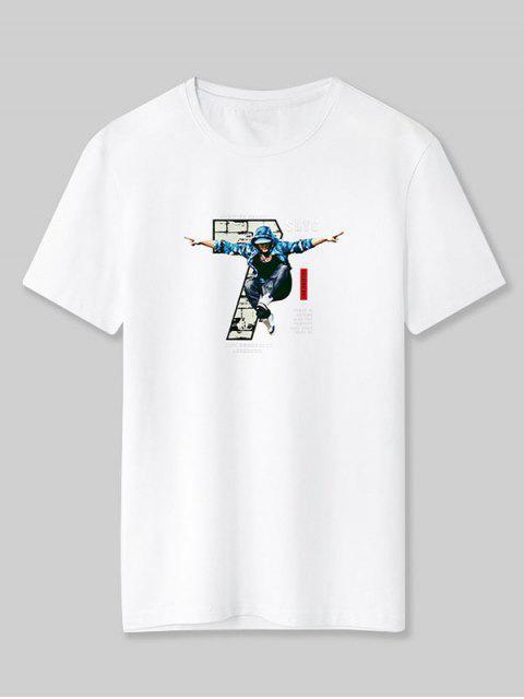 unique Cool Boy Letter Graphic Basic T-shirt - WHITE XL Mobile