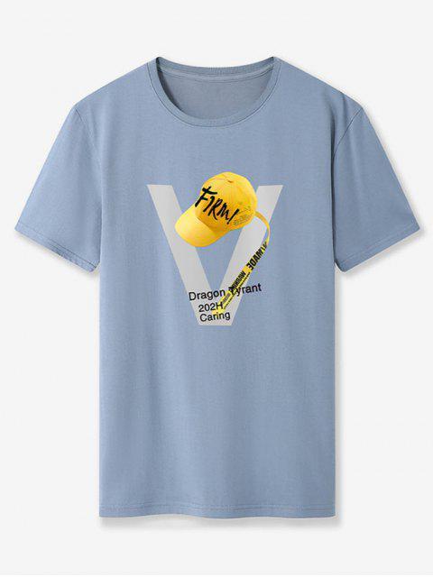 T-Shirt da Baseball Basic con Grafica - Blu Grigio XS Mobile