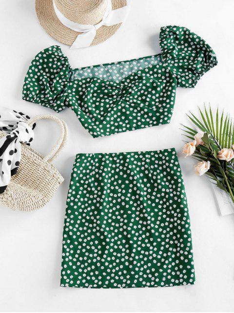 sale ZAFUL Ditsy Floral Puff Sleeve Ruched Two Piece Set - PINE GREEN S Mobile