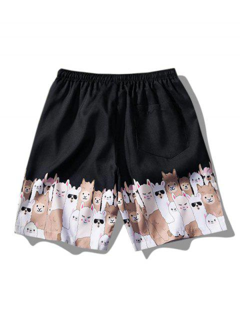 hot Cartoon Animal Print Casual Shorts - BLACK XS Mobile