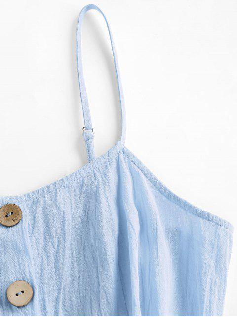 shop ZAFUL Button Up Shirred Cami Pocket Dress - LIGHT BLUE XL Mobile