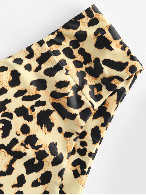 fancy ZAFUL Animal Print High Waisted High Cut Bikini Bottom - TAN M Mobile
