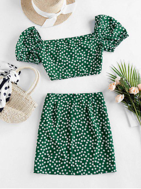 hot ZAFUL Ditsy Floral Puff Sleeve Ruched Two Piece Set - PINE GREEN M Mobile