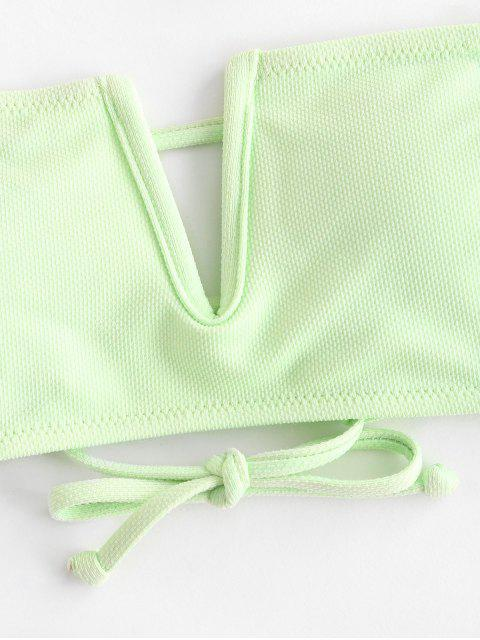 latest ZAFUL V Wire Textured Bandeau Bikini Top - MINT GREEN S Mobile