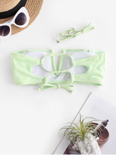 trendy ZAFUL V Wire Textured Bandeau Bikini Top - MINT GREEN M Mobile