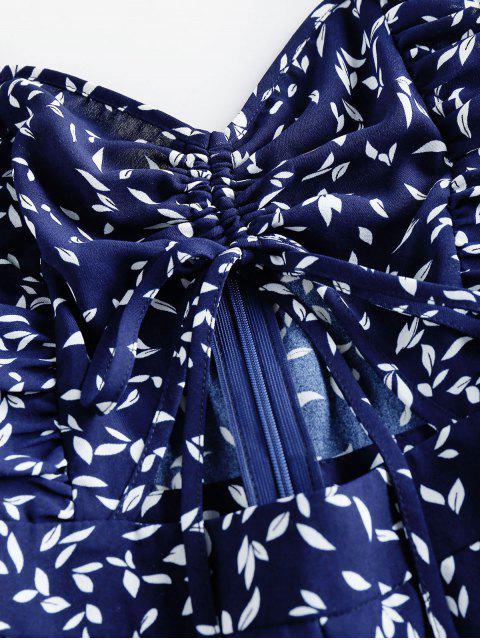 ZAFUL Mono Corto con Estampado de Hojas - Azul de Medianoche XL Mobile