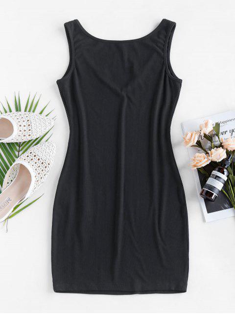 women ZAFUL Ribbed V Notched Mini Tank Dress - BLACK XL Mobile