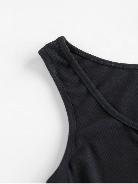 chic ZAFUL Ribbed V Notched Mini Tank Dress - BLACK L Mobile