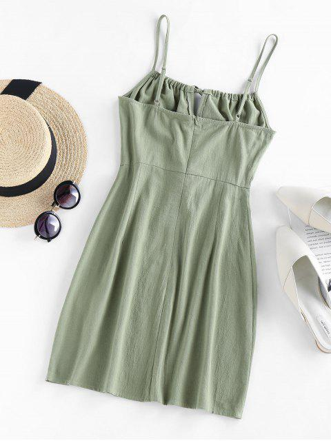 outfit ZAFUL Tied Mini Cami Dress - LIGHT GREEN M Mobile