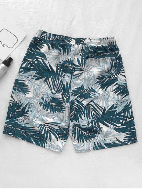 women Leaf Plant Printed Board Shorts - GREENISH BLUE L Mobile
