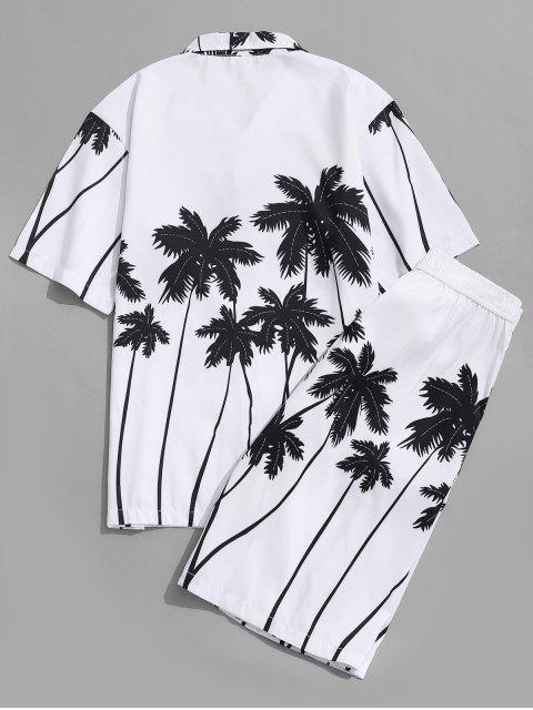 Hawaii Strand Shorts mit Kokosnuss Palmendruck - Weiß XS Mobile