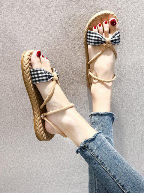latest Plaid Bowknot Convertible Strap Flat Sandals - BLACK EU 38 Mobile