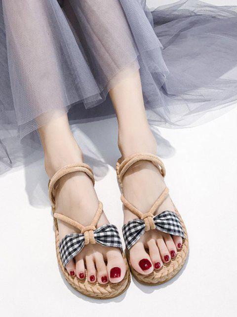 shops Plaid Bowknot Convertible Strap Flat Sandals - BLACK EU 39 Mobile