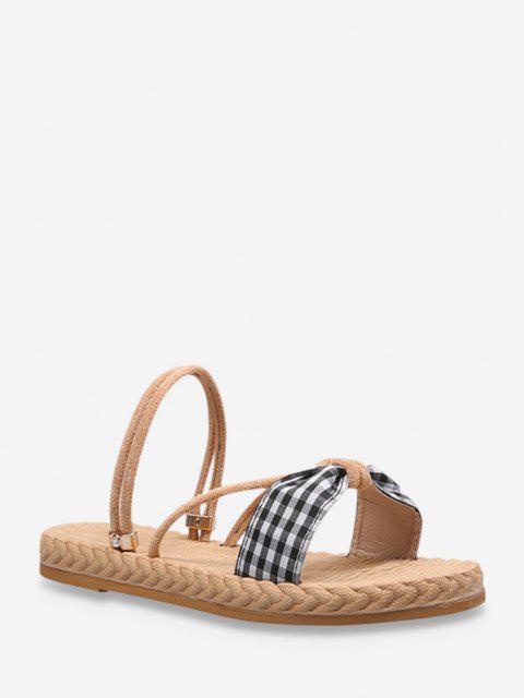 shop Plaid Bowknot Convertible Strap Flat Sandals - BLACK EU 40 Mobile