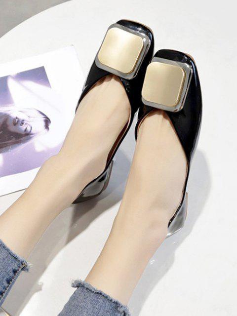 buy Square Embellished Slip On Flat Shoes - BLACK EU 40 Mobile