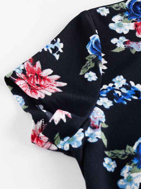 ZAFUL Mini-Robe Moulante Fleur Imprimée - Cadetblue S Mobile