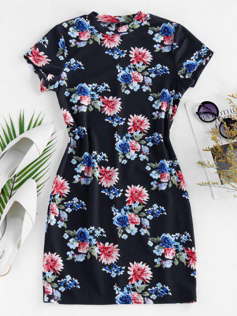ZAFUL Flower Print Bodycon Mini Dress - طالبا الأزرق S Mobile