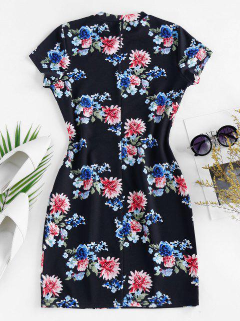 latest ZAFUL Flower Print Bodycon Mini Dress - CADETBLUE M Mobile