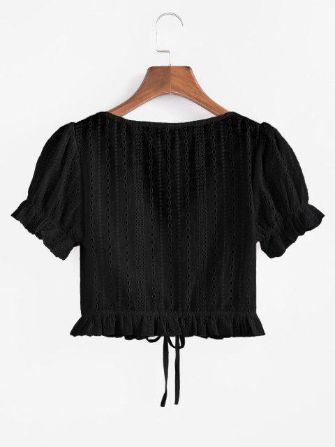 outfits ZAFUL Eyelet Cinched Ruffle Crop Blouse - BLACK S Mobile