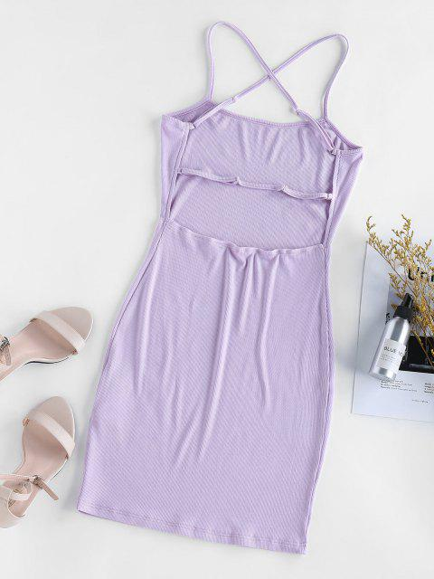 ZAFUL Kreuzes und Queres Gestricktes Bodycon Kleid - Lila Mimose L Mobile