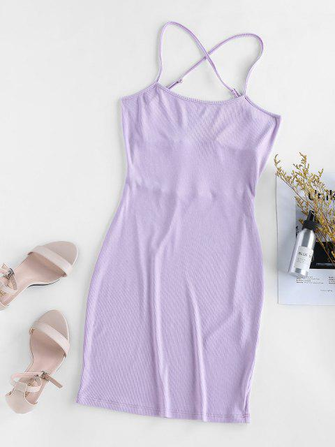 shops ZAFUL Knitted Criss Cross Backless Bodycon Dress - PURPLE MIMOSA M Mobile