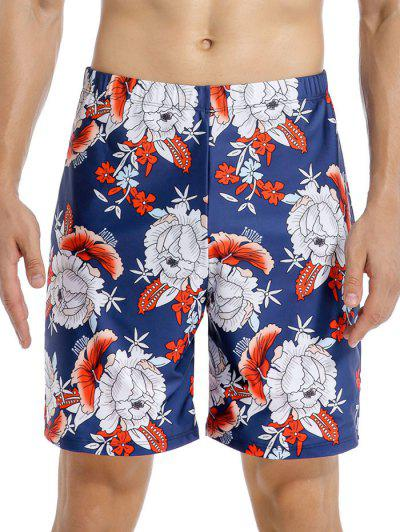 Flower Print Swim Shorts - Multi-a 2xl