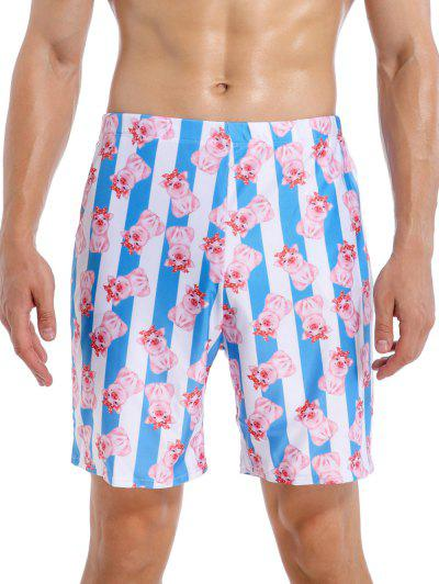 Cartoon Pig Striped Beach Swimming Shorts - Multi-a 2xl