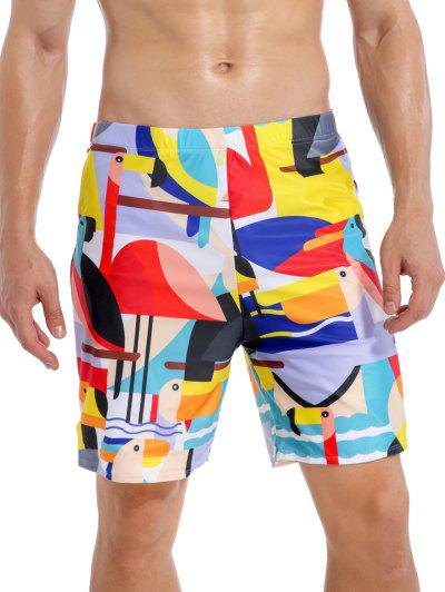 Cartoon Flamingo Swimming Trunks