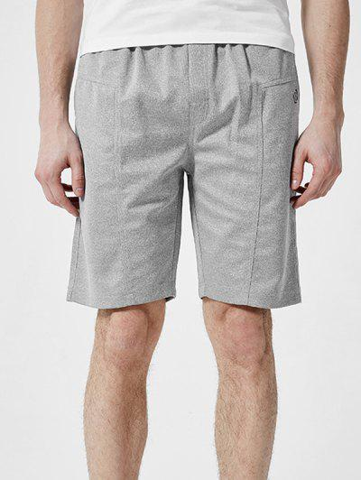 Letter Detail Plain Drawstring Casual Shorts - Light Gray 2xl