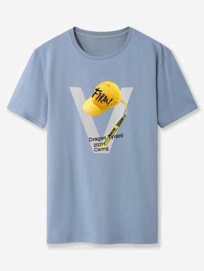 Firm Baseball Cap Graphic Basic T Shirt - Blue Gray Xs