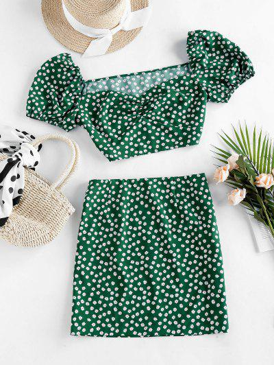 ZAFUL Ditsy Floral Puff Sleeve Ruched Two Piece Set - Pine Green S