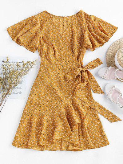 ZAFUL Ditsy Print Ruffle Butterfly Sleeve Tulip Dress - Yellow L