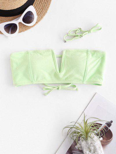 ZAFUL V Wire Textured Bandeau Bikini Top - Mint Green M