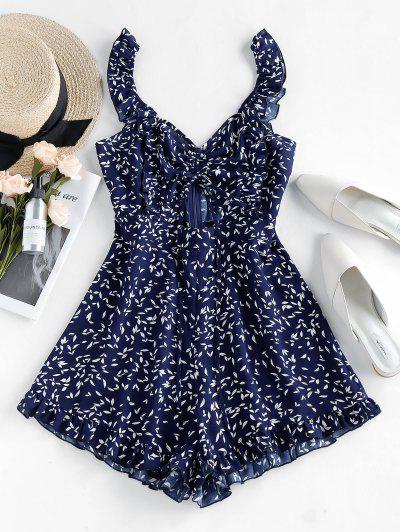 ZAFUL Leaves Print Cinched Cut Out Romper - Midnight Blue L