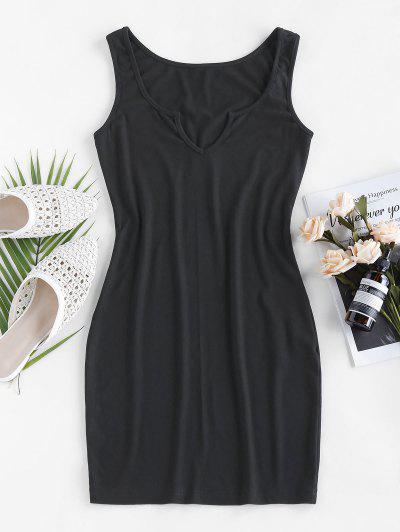 ZAFUL Ribbed V Notched Mini Tank Dress - Black S