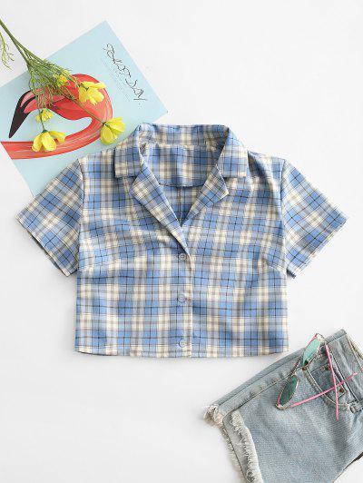 Plaid Button Up Lapel Blouse - Light Blue S