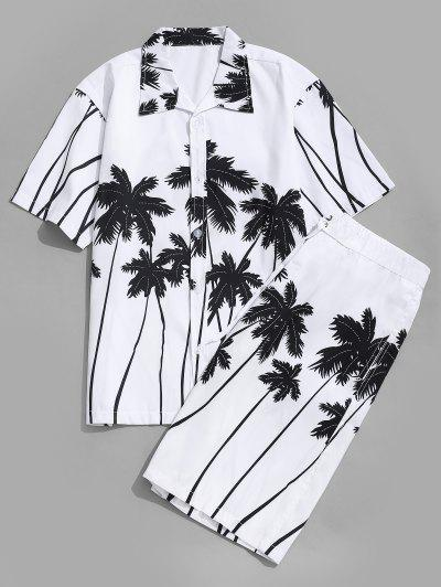 Camisa Hawaii Estampado Palma De Coco Y Shorts De Playa - Blanco M